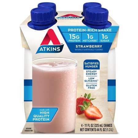 Atkins Diet Supplements (Atkins Strawberry Shake, 11 fl oz, 4-pack (Ready To Drink))