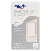 (2 pack) Equate Sensitive Skin XL Flexible Fabric Bandages, 8 Ct