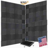 "96 Pack Acoustic Panels Studio Soundproofing Foam Wedges 2"" X 12"" X 12"""