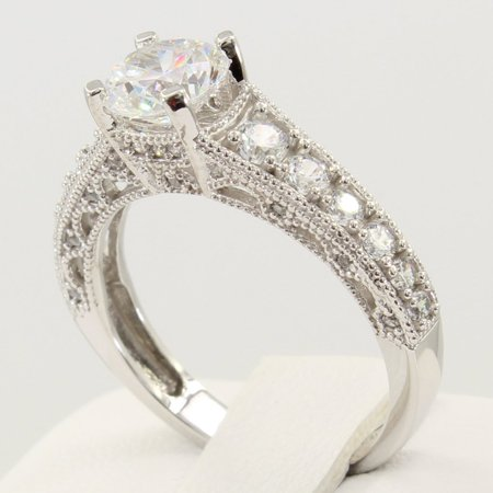 2.50 Ct 14K Real White Gold Fancy Round Cut with Pave Set Side Stones 4 Prong Setting Antique Vintage Style Engagement Wedding Bridal Propose Promise Ring Antique Style Engagement Ring Setting