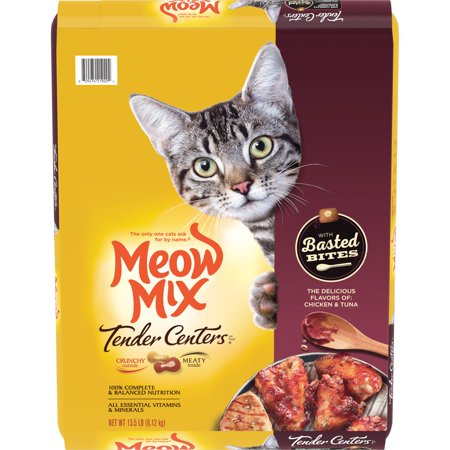 Meow Mix Tender Centers with Basted Bites, Chicken and Tuna Flavored Dry Cat Food, 13.5-Pound