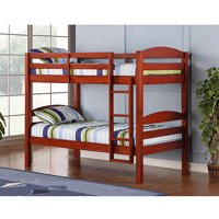 Walker Edison Twin Over Twin Wood Bunk Bed, Cherry (Multiple Colors Available)