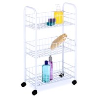 Whitmor 3 Tier Small Wire Rolling Cart White