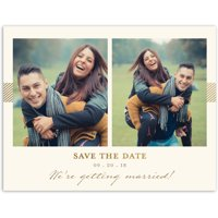 Classic Stripe Wedding Save the Date Postcard