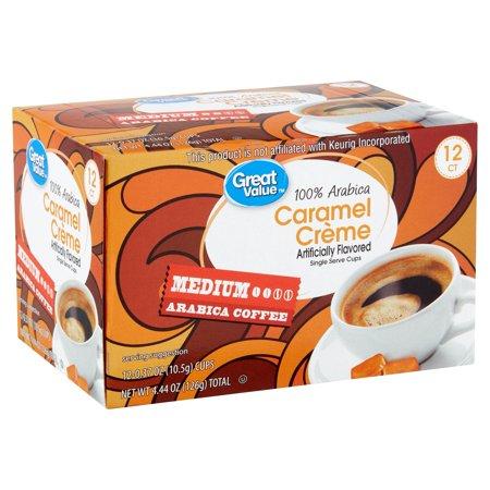 Great Value 100% Arabica Caramel Crème Coffee Pods, Medium Roast, 12 - Caramel Log