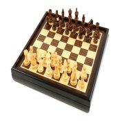 Craftsman Natural Wood Veneer Deluxe Chess Set