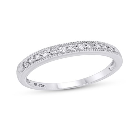 Sterling Silver Cubic Zirconia Milgrain Band Ring
