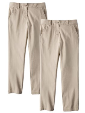 Wonder Nation Girls School Uniform Stretch Twill Straight Fit Pants, 2-Pack Value Bundle