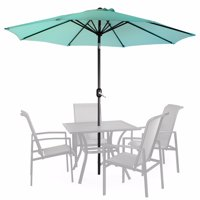 9' Patio Umbrella Round Sunshade Outdoor Canopy Tilt and Crank - Aqua