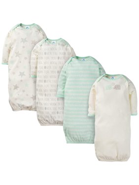 Assorted Lap Should Gown with Mitten Cuffs, 4pk (Baby Boy or Baby Girl Unisex)