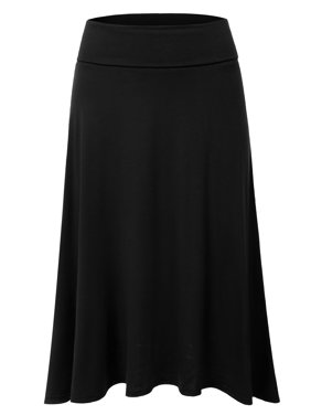 Doublju Women's Basic Soft Stretch Mid Midi Flare Flowy Skirt BLACK S