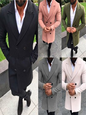Winter Men's Woolen Casual Trench Coat Windbreaker Overcoat Long Jacket