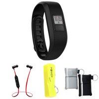 Garmin Vivofit 3 Activity Tracker Fitness Band - Regular Fit - Black (010-01608-00) with Xtreme Fusion Bluetooth Headphones Black/Red, 2600mAh Keychain Power Bank & Neoprene Pouch