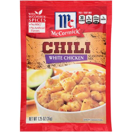 (4 Pack) McCormick White Chicken Chili Seasoning Mix, 1.25 (Mccormick White Chicken Chili Recipe Slow Cooker)