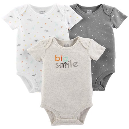 Carters Halloween Onesies (Child Of Mine By Carter's Short Sleeve Bodysuits, 3-pack (Baby Boys or Baby Girls,)