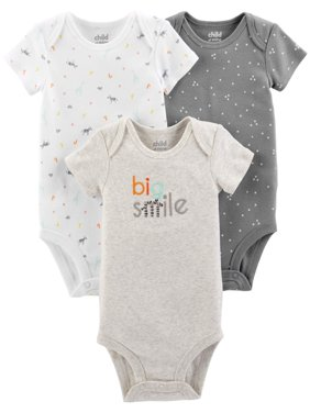 Short Sleeve Bodysuits, 3-pack (Baby Boys or Baby Girls Unisex)