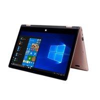 "EVOO 11.6"" Full HD Convertible Touchscreen Laptop,Elite Series, 4MB Memory, 32GB Hard Drive, Windows 10 S, Windows Hello, Windows Ink, (Smart Stylus Included), CortanaI, Rose Gold"