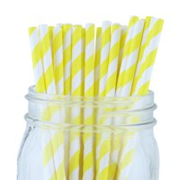 Just Artifacts Decorative Striped Paper Straws (100pcs, Striped, Yellow)