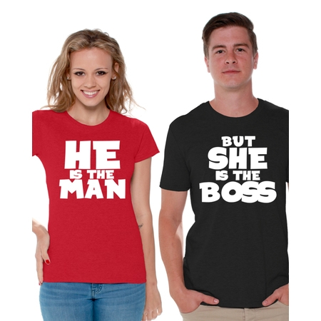 Awkward Styles He Is the Man But She Is the Boss Shirts for Couples Man Boss Matching Husband and Wife Couple Shirts She Is the Boss Funny Couple T Shirt Happy Valentines Day Couple Anniversary Gifts](Funny Couples)
