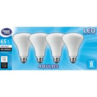 Great Value LED Light Bulb, 8W (65W Equivalent) Daylight, BR30, 4-Pack