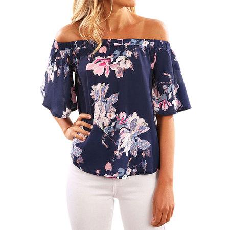 Nlife Women Floral Print Short Sleeve Off Shoulder Blouse
