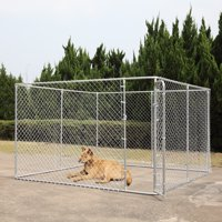 Jaxpety Dog fence 10 x 10 Ft Heavy Duty Outdoor Chain Link Dog Kennel Enclosure w/ Door