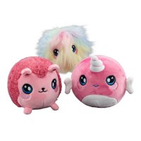 """Squeezamals, 3-Pack Bundle (Narcissa Narwhal, Fifi Furball, Hopey Hedgehop) - 3.5"""" Super-Squishy Foamed Stuffed Animal! Squishy, Squeezable, Cute, Soft, Adorable!"""