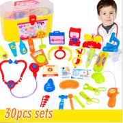 30Pcs Baby Kids Doctor Medical Playset Carry Case Kit Education Role Play Toys Suitable for boys and girls aged 3+ years School Season Discount Black Friday Big Sale