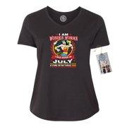 182f404d090 Wonder Woman Born In July Superhero Plus Size Womens V Neck T-Shirt Top