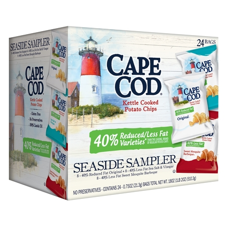 - Cape Cod Reduced Fat Variety Pack, Kettle Cooked Potato Chips Seaside Sampler, 0.75 Oz, 24 Ct
