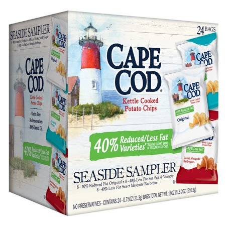 Cape Cod Reduced Fat Variety Pack, Kettle Cooked Potato Chips Seaside Sampler, 0.75 Oz, 24 Ct (Avon Cape Cod Ruby Glass)