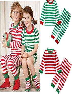 FASHION Christmas Toddler Kids Baby Girl Boy Striped Pajamas Sleepwear Nightwear Clothes