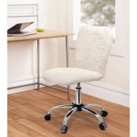 Urban Shop Faux Fur Armless Swivel Task Office Chair, Multiple Colors