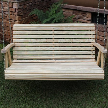 Outdoor Garden Lawn Patio 4 Ft Natural Finish Roll Back Style Amish Heavy Duty 700 Treated Pine Porch Handcrafted Swing ()