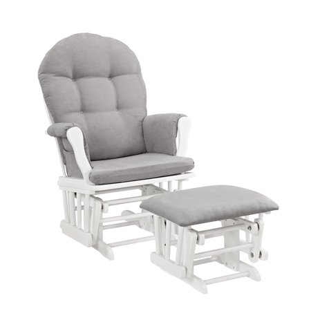 Angel Line Windsor Glider and Ottoman White Finish and Gray Cushions ()