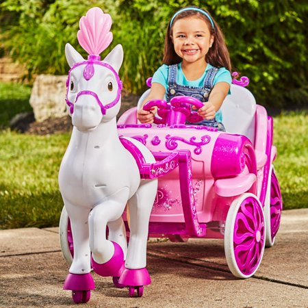 Disney Princess Royal Horse and Carriage Girls 6V Ride-On Toy by Huffy - Ride On Toys For 4 Year Olds