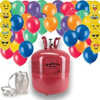"Helium Tank + 50 Multi Color balloons + White Curling Ribbon + 10 emoji Balloons. 14.9 CU Ft Helium, Enough for 50 9"" Balloons"
