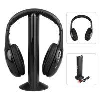 5 in 1 HIFI Wireless Headset Headphones Cordless RF Mic for PC TV DVD CD MP3 MP4
