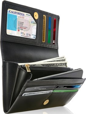 Product Image Genuine Leather Wallets For Women - Ladies Accordion With Coin Purse And ID Window RFID Blocking