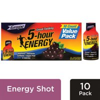 5-hour ENERGY Regular Strength Grape Flavor, Low Calorie Energy Shot, 10 Pack