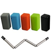 Collapsible Reusable Straws with Case Holder, Keychain, Portable Collapsible Foldable Stainless Steel Smoothie Drinking Metal Tumbler Straws with Cleaning Brush, Black