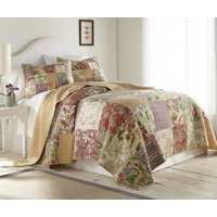 Chezmoi Collection Delaney 2-Piece Floral Patchwork Reversible 100% Cotton Vintage Washed Quilt Set
