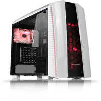 Thermaltake Versa N27 Snow White Mid Tower ATX Gaming Desktop Computer Chassis with 3 Red 120mm LED Chassis Fans - CA-1H6-00M6WN-02