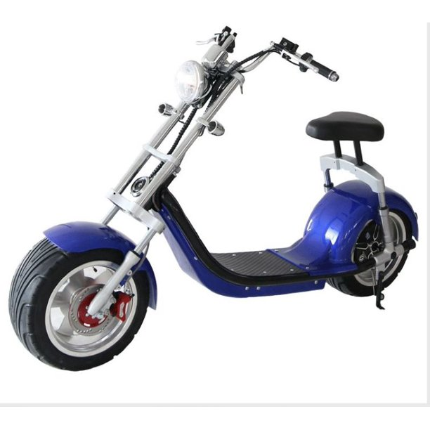 Blue Electric Scooter Wide Fat Tire Chopper Style