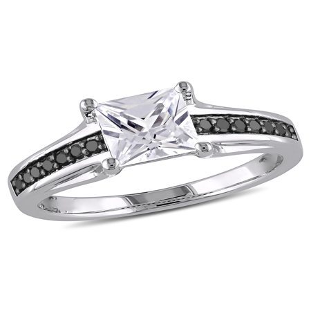 1-1/3 Carat T.G.W. Created White Sapphire and 1/7 Carat T.W. Black Diamond Sterling Silver Engagement Ring (Black Diamond Engagement Ring)