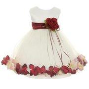 ab44b6c0210 Kids Dream Baby Girls Ivory Burgundy Satin Petal Floating Flower Girl Dress  6M
