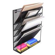 Wall Mount File Organizer Holder 5 Pocket Metal Mesh Hanging Folder Magazine Mail Rack For Office