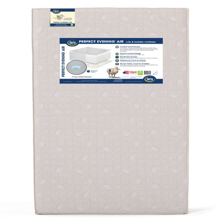 Serta Perfect Evening Air 5-Inch Crib and Toddler Mattress - Fiber Core - Dual Sided - Waterproof Vinyl Cover - Lightweight - GREENGUARD Gold Certified (Natural/Non-Toxic)