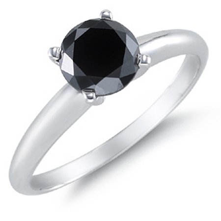 1 Carat Solitaire Round Black Diamond Engagement Ring for Women in White Gold, Under 300