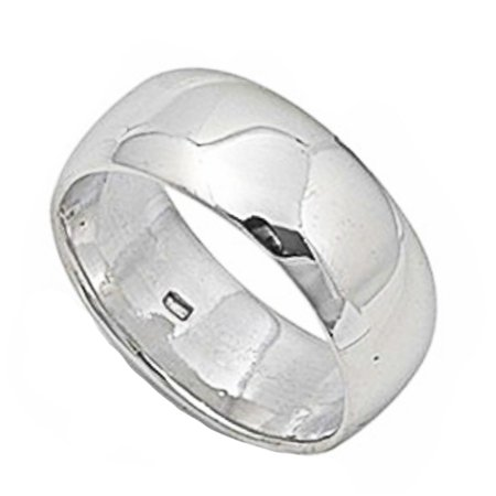 9 Mm Round Ring - Round Plain Solid Wedding Band 9 MM .925 Sterling Silver Ring Sizes 5-14